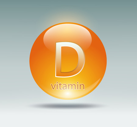 D: orange capsule with vitamin D on a blue background