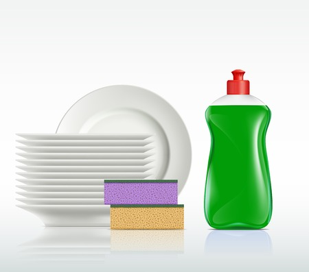 plates and a bottle with detergent isolated on white background Vector