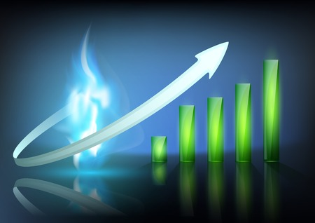 blue flame of natural gas and business graph Vector