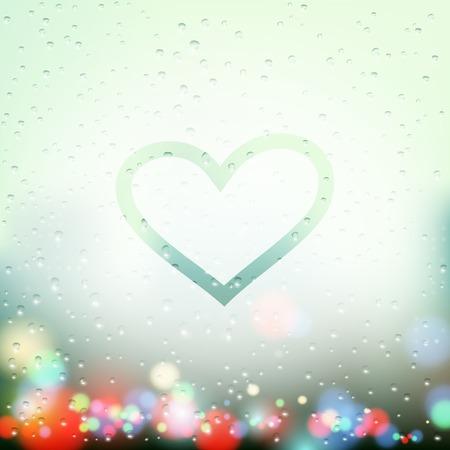 rain window: painted heart on Sweaty Window