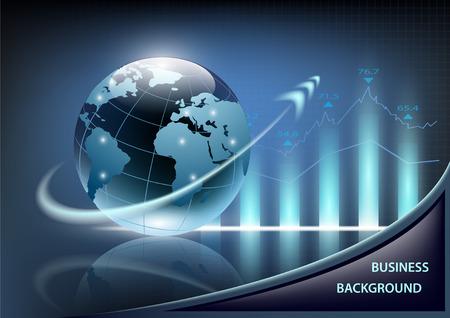 groei grafiek en de planeet aarde met een pijl op een donkerblauwe achtergrond Stock Illustratie