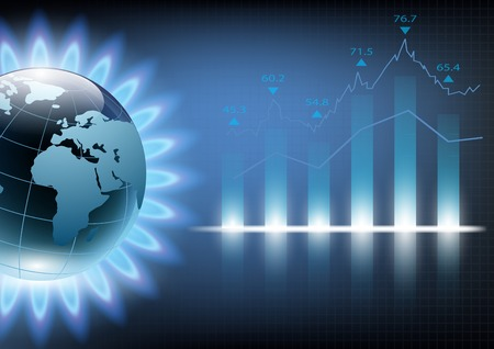 chart vector: Planet earth in the blue flame of a gas burner. Vector illustration of financial graph chart Illustration