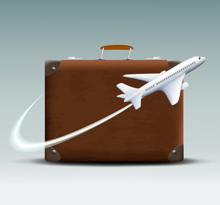 white plane flies around the brown suitcase Vector