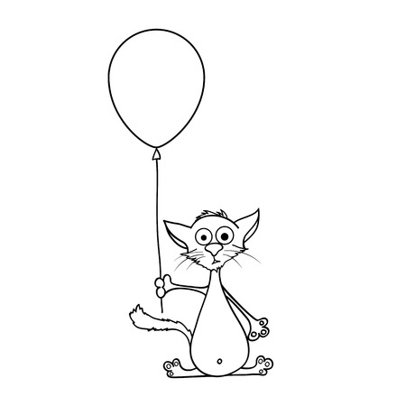 to confess love: painted cat holding a balloon in his paws