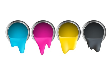 cmyk abstract: buckets with cyan magenta yellow black paint on a white background Illustration
