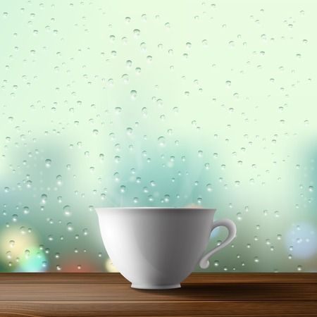 vapour: white cup on the background of a window