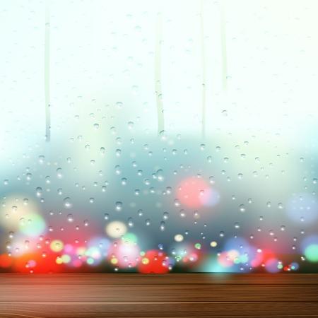 sill: raindrops on the window Illustration