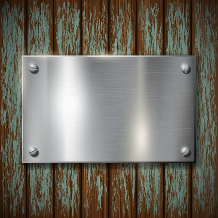 metal sign: metal plate on a wooden wall Illustration
