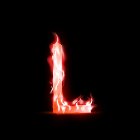l petrol: vector letter with red fire