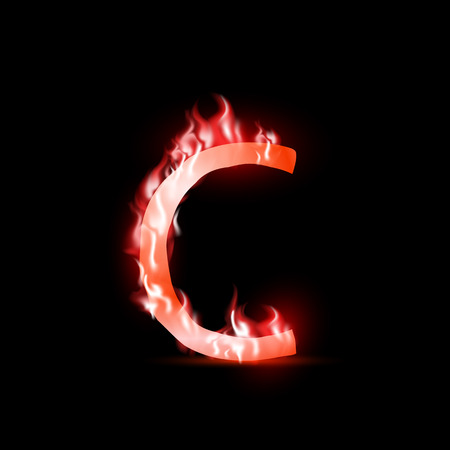 fiery font: Vektor-Brief mit rotem Feuer