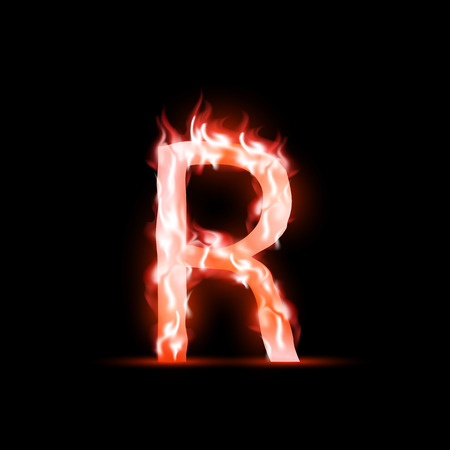 ardent: vector letter with red fire