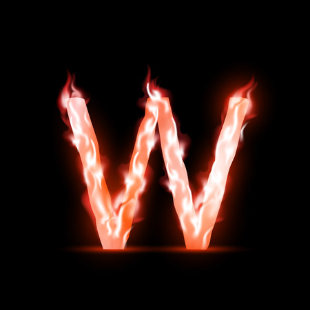 vector letter with red fire Vector