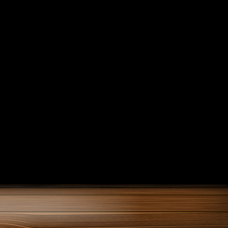 a wooden table on a black background Illustration
