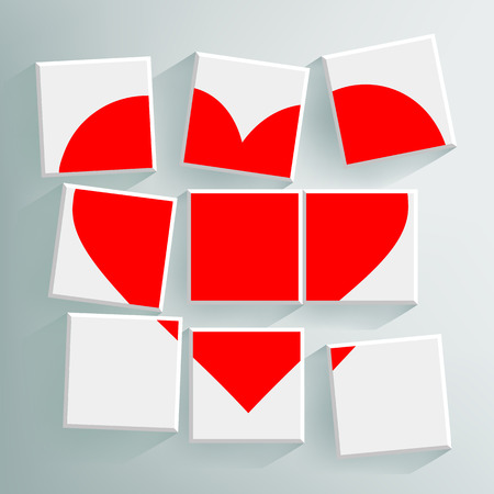 donor: red heart folded cubes Illustration