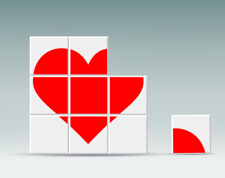 deficiency: red heart folded cubes Illustration