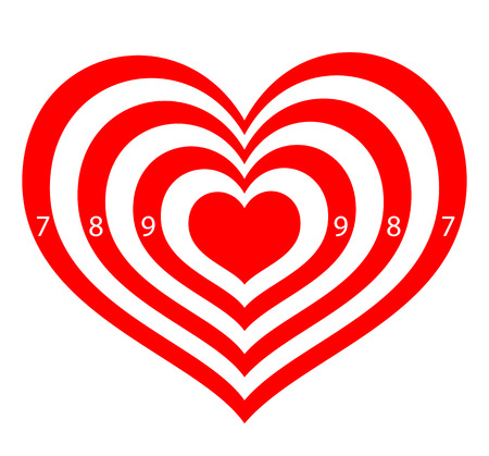 love target: target in the form of red hearts