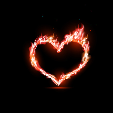 heart heat: human heart with red flames