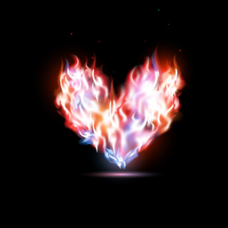 red love heart with flames: human heart in flames