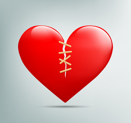 heart pain: red heart with a crack