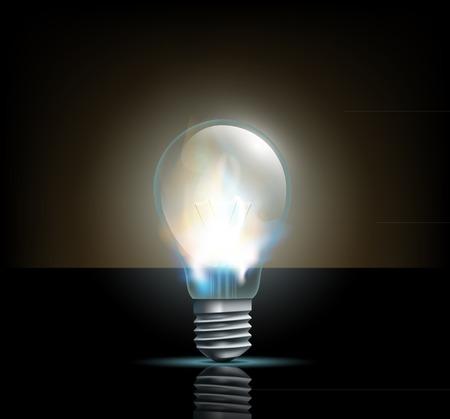 filament: glowing filament lamp on a dark background Illustration