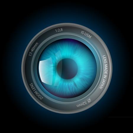à l'intérieur de l'oeil la lentille de la caméra