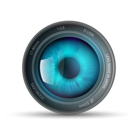 při pohledu na fotoaparát: oko v objektivu fotoaparátu