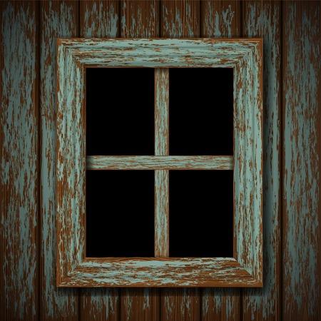 houten raam van een oud verlaten gebouw Vector Illustratie