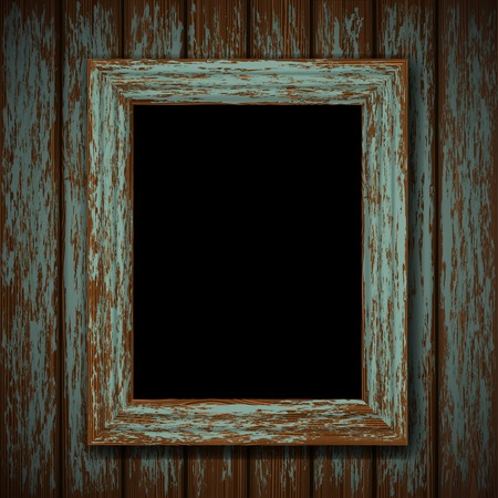 ghost house: wooden window of an old abandoned building Illustration