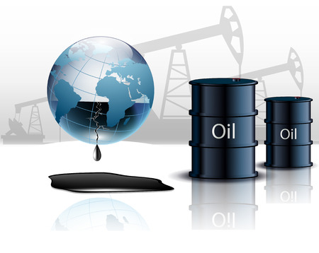 Oil pump oil rig energy industrial machine and barrels of oil Vector Illustration