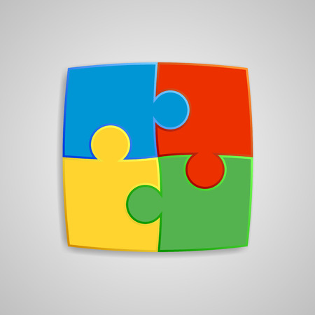 interconnected: Four pieces of the puzzle are interconnected