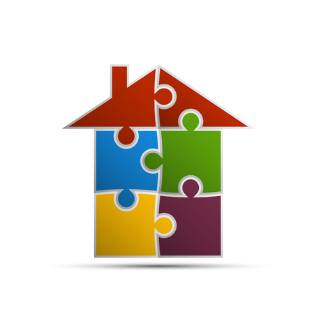 contribution: house consisting of pieces of the puzzle Illustration