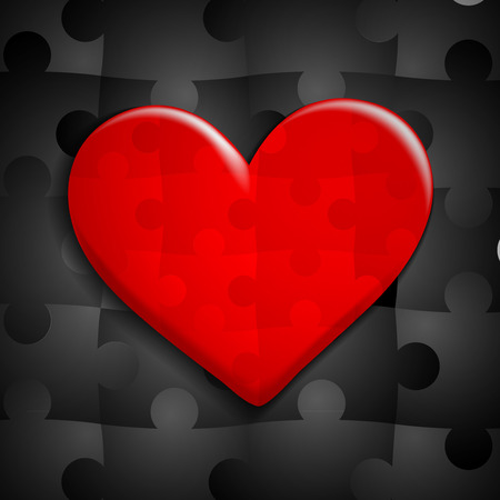 puzzle heart: red heart of puzzle on a background of black puzzles