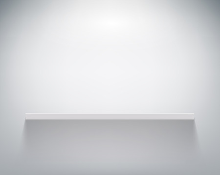 empty shelf on white wall Vectores