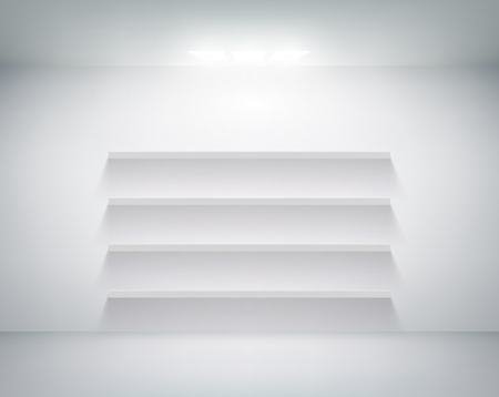 empty shelf: empty shelf on white wall Illustration