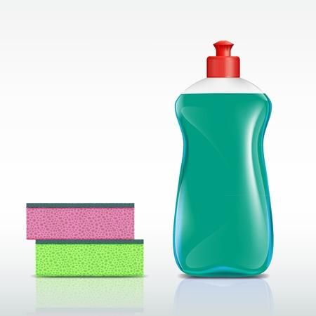 productos de limpieza: botella de plástico con detergente y esponja Vectores