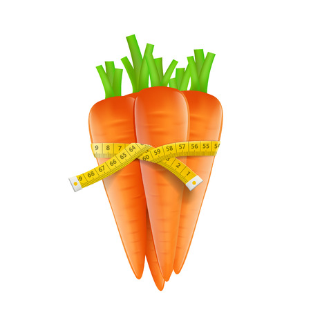 waist weight: Measuring tape around a carrot
