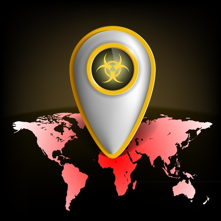 hazardous area sign: pointer with the biohazard symbol on a map of the earth