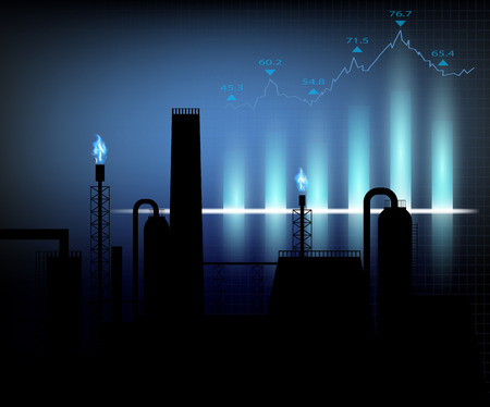 speculation: Gas production. Vector illustration of financial graph chart Illustration