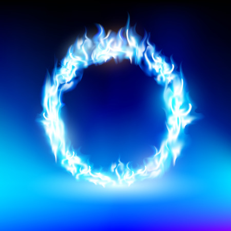 blue flame: ring with a blue flame