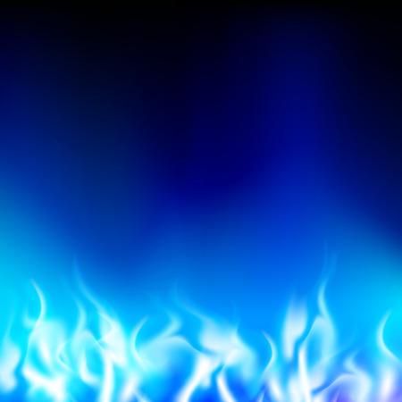 blauwe vlam op een zwarte achtergrond Stock Illustratie