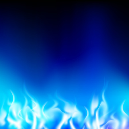 gases: blue flame on a black background