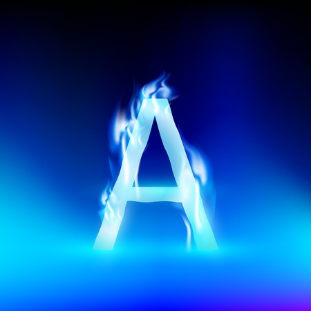 blue fire: letter A with blue fire Illustration