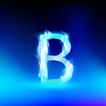 fiery font: Buchstabe B mit blauem Feuer Illustration
