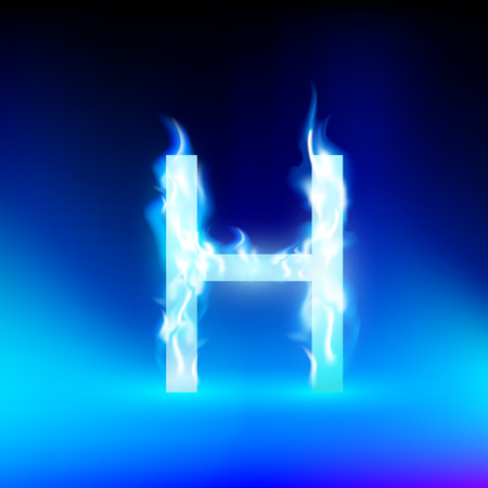 blue fire: letter H with blue fire Illustration