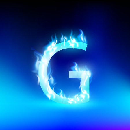 flame letters: vector letter with blue fire Illustration