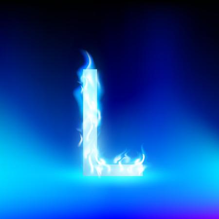 l petrol: letra L con fuego azul