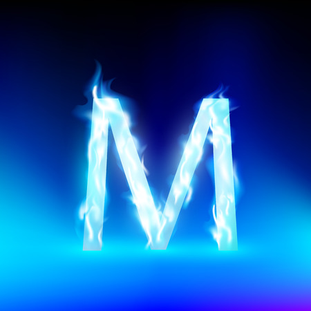 blue fire: letter M with blue fire
