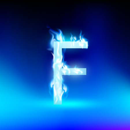 blue fire: letter F with blue fire Illustration