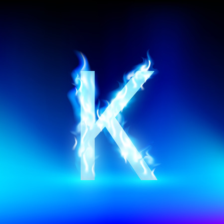 blue fire: letter K with blue fire