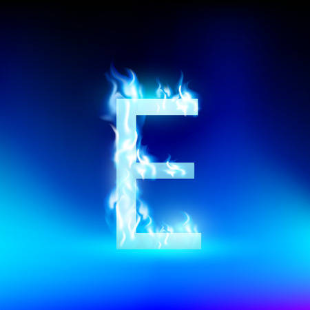 flame letters: letter E with blue fire